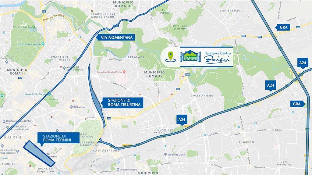 mappa come raggiungerci residence centro benigni roma